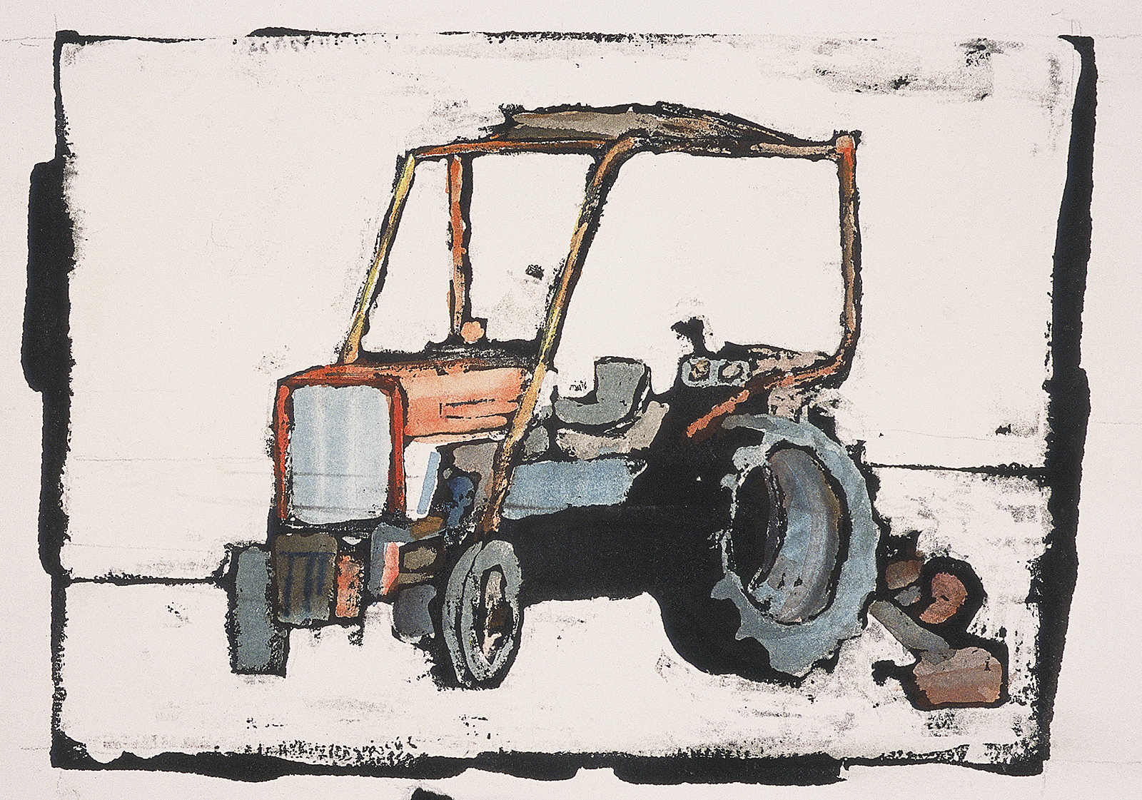 """OLD RELIABLE - watercolor and ink resist, 12"""" x 9"""", SOLD"""