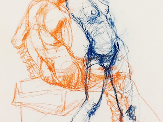 ORANGE AND BLUE GESTURE