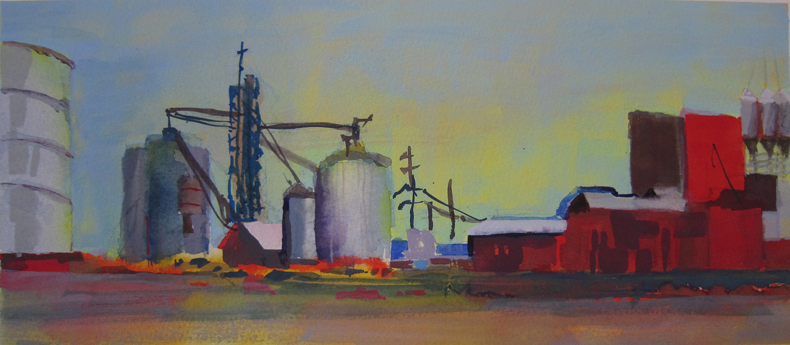 """WEST TEXAS - watercolor,  11"""" x 5"""", SOLD"""